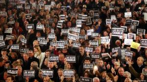 Solidaritätsdemonstration für die Opfer der Anschläge auf die Redaktion von Charlie Hebdo in Paris; Foto: picture alliance/dpa