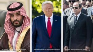 Von einem Machtwechsel im Weißen Haus wären der saudische Kronprinz Mohammed bin Salman betroffen, gefolgt von dem ägyptischen Präsidenten Abdel Fattah al-Sisi, dessen Land nach außen wie nach innen derzeit vor großen Herausforderungen steht. Auch der Scheich von Abu Dhabi, Scheich Mohammed bin Zayed, hätte einen erheblichen Verlust an Einfluss zu befürchten. Fotomontage: DW