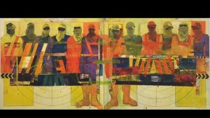"""""""Truck and Workers"""", 2011, Kunstwerk des qatarischen Künstlers Faraj Daham; Foto: Sultan Sooud Al Qassemi"""