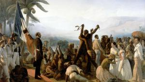 """""""Abolition de l'esclavage"""" by François-Auguste Biard, 1849 (photo: 1. www.assemblee-nationale.fr2. langlois.blog.lemonde.fr, Public Domain, https://commons.wikimedia.org)"""