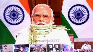 Premierminister Narendra Modi bei einem virtuellen Treffen mit Bihar-Chefminister Nitish Kumar am 10. September 2020 (photo: Manish Kumar)