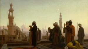 Jean-Léon Gérôme: Prayer in Cairo. Quelle: Kunsthalle Hamburg [[File:Prayer in Cairo 1865.jpg|Prayer in Cairo 1865]] https://commons.wikimedia.org/wiki/File:Prayer_in_Cairo_1865.jpg
