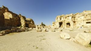 Hexagonalhof, Tempel des Jupiter, Baalbek, Libanon.