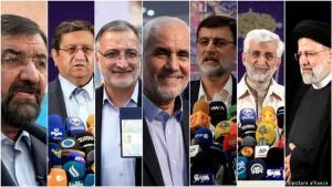 Die sieben vom iranischen Wächterrat zugelassenen Präsidentschaftskandidaten, ganz rechts Ebrahim Raisi, Favorit auf den Sieg