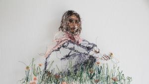 """Beizar Aradinis Werk """"To and From Home"""", Faden auf Tüll, 2021; mit freundlicher Genehmigung der Künstlerin"""