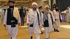 Mitglieder der Verhandlungsdelegation der Taliban in Doha. (Foto:Karim Jaafar/AFP/Getty Images)