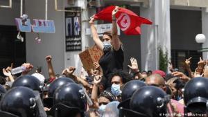 Proteste gegen die miserable wirtschaftliche Lage in Tunis im Dezember 2020; Foto: Fethi Belaid/AFP/Getty Images