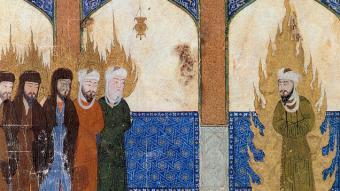 Persische Miniatur, in der Mohammed (rechts) Abraham, Mose, Jesus und andere Propheten im Gebet anleitet Foto: Barbara Hanawalt, Oxford University Press | Public Domain