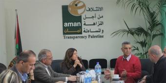 Teambesprechung bei AMAN - Transparency Palestine; Quelle: AMAN - Transparency Palestine