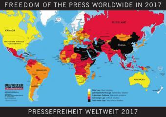 Rangliste der Pressefreiheit 2017 von Reporter ohne Grenzen; Quelle: ROG