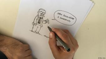 """Karikatur Recep Tayyip Erdogans von Selcuk Erdem: """"Die Türkei ist die Nummer Eins in Sachen Pressefreiheit""""; Foto: DW"""