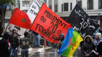 Aktivisten der marokkanischen Bewegung 20. Februar protestieren in Casablanca; Foto: AP