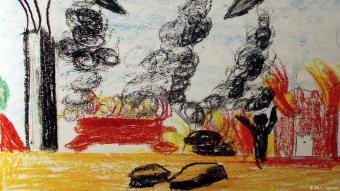 Kinder zeichnen Kriegserlebnisse im Nahen Osten; Foto: DW