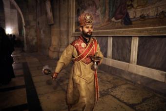 """Wenn man in die Fußstapfen des Herrn tritt, hat man Gefühle, die sich nicht erklären lassen"""", sagt der 26-jährige armenisch-orthodoxe Geistliche. """"All dies hier sind heilige Orte für uns."""""""