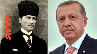 Arte-Logo mit den Bildern Atatürks und Erdogans