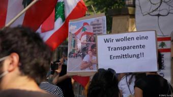 Libanon nach den Explosionen in Beirut. Libanesen demonstrierten an der Botschaft ihres Landes in Berlin. Foto: DW