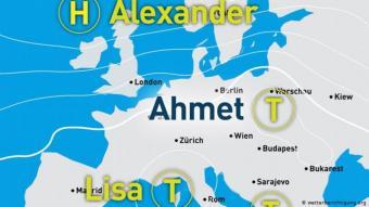 Tief Ahmet bestimmt derzeit das Wetter in Mitteleuropa - gemeinsam mit Tief Lisa, das noch 2020 benannt wurde. Foto; Wetterberichtigung.org.